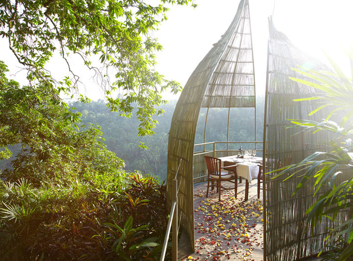 Романтический ужин в беседке над тропическими джунглями
