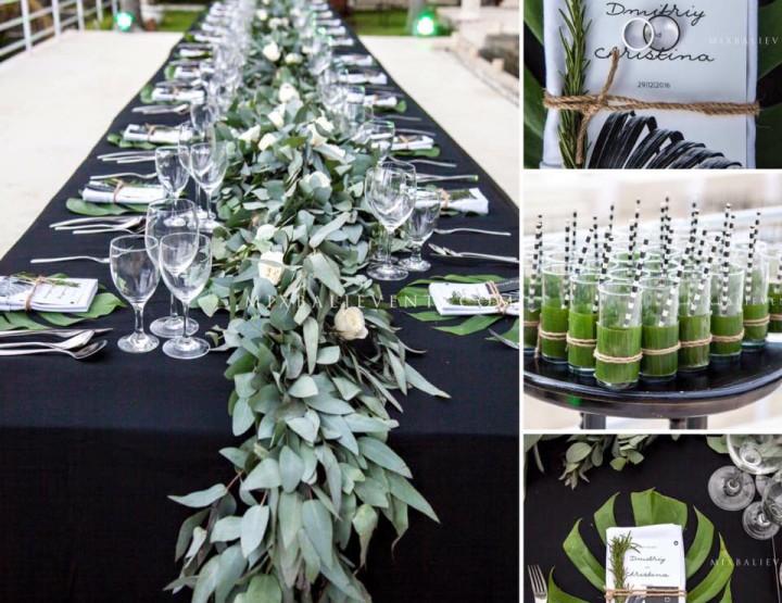 Тренд 2017 - Черно-белая Тропическая Свадьба с гостями на роскошной вилле у океана