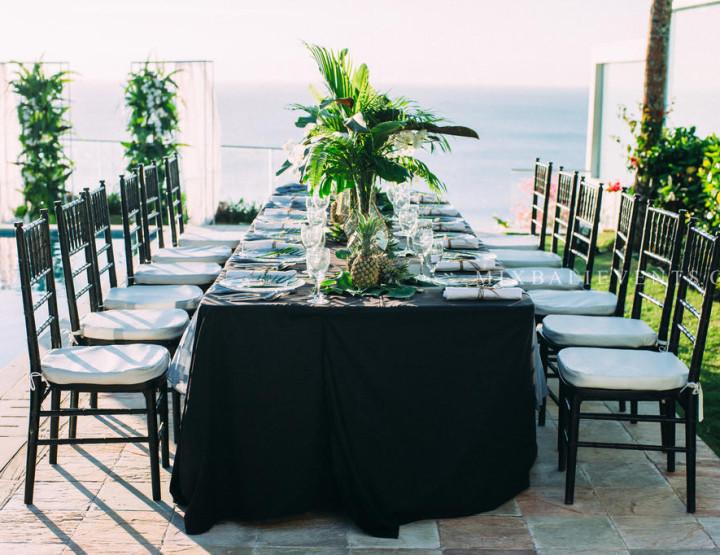 Декор стола «Tropical Leaves» в черно-зелено-сером цвете