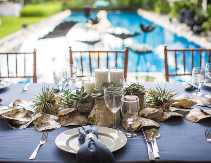 Морской декор стола в Серо-Голубых тонах